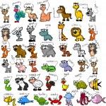 Big set of cartoon animals...