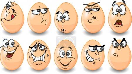 Illustration pour Oeufs de Pâques de bande dessinée, Pâques heureux - image libre de droit