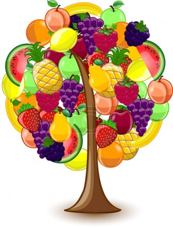 Tree with a variety of fruits, vector