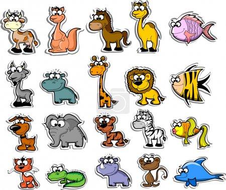 Photo pour Grand ensemble d'animaux de dessin animé et de poissons - image libre de droit