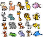 Big set of cartoon animals and fishes