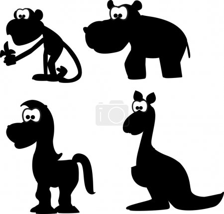 Cartoon silhouettes of animals