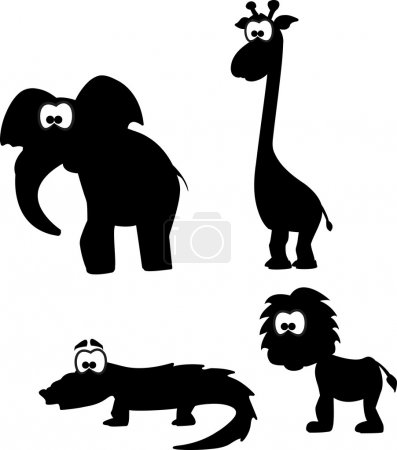 Illustration for Cartoon silhouettes of animals - Royalty Free Image