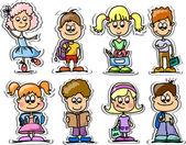 Cartoon cute schoolboys and schoolgirls