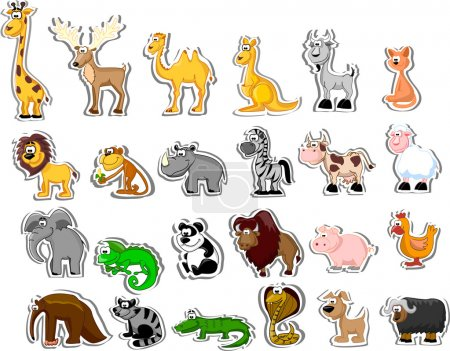 Illustration for Big set of cartoon animals - Royalty Free Image