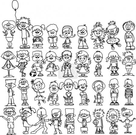 Illustration for Cute happy cartoon kids - Royalty Free Image