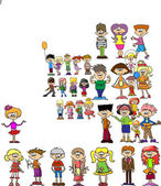 šťastný karikatura děti