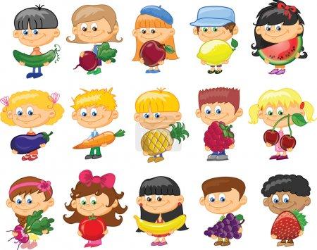 Photo pour Dessin animé pour enfants avec fruits et légumes - image libre de droit