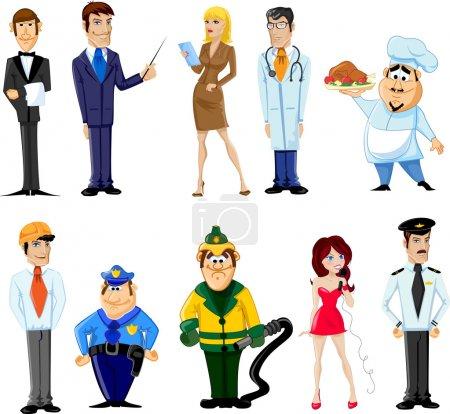 Illustration pour Gestionnaire de personnages de dessins animés, chef, policier, serveur, chanteur, médecin - image libre de droit