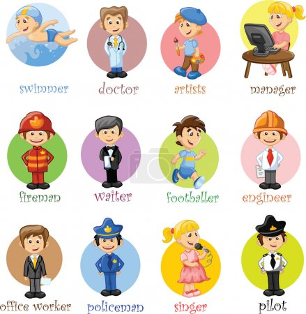 Photo for Cartoon characters manager, chef,policeman, waiter, singer, doctor - Royalty Free Image