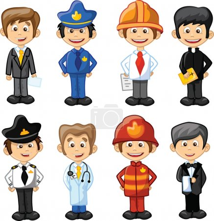 Cartoon characters manager, chef,policeman, waiter, singer, doctor and other