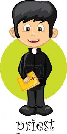 Illustration pour Personnage de bande dessinée prêtre - image libre de droit