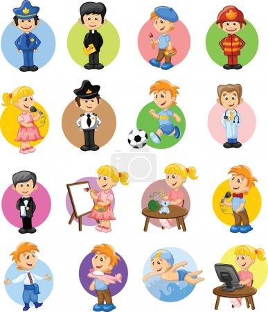 Photo pour Gestionnaire de personnages de dessins animés, chef, policier, serveur, chanteur, médecin - image libre de droit