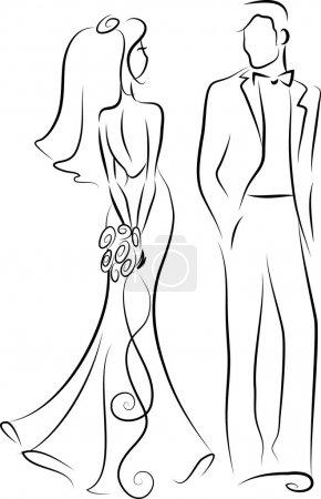 Photo pour Silhouette de mariée et marié invitation de mariage, vecteur - image libre de droit