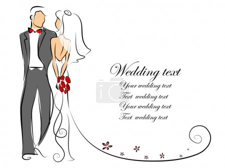 Illustration for Silhouette of bride and groom, background, wedding invitation, vector - Royalty Free Image