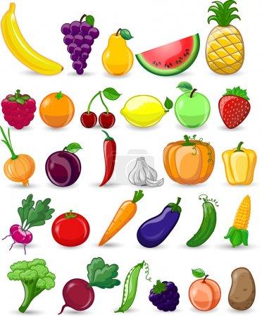 Illustration pour Légumes et fruits caricaturaux - image libre de droit