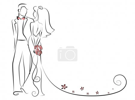 Illustration for Silhouette of bride and groom, background, wedding invitation, the vector - Royalty Free Image