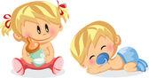 Vektorové ilustrace chlapeček a holčička