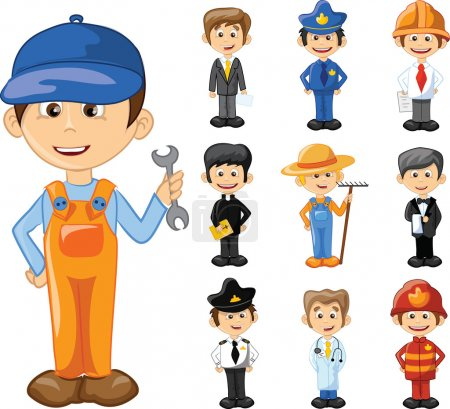 Photo for Cartoon characters of different professions - Royalty Free Image