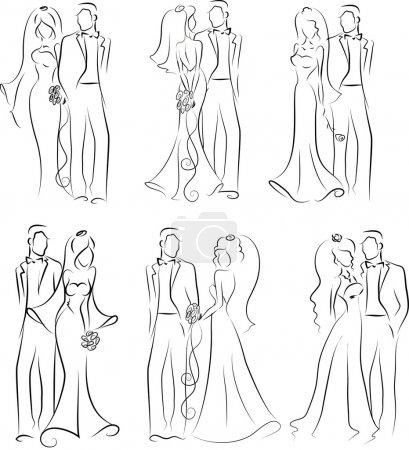 Photo pour Silhouette de mariée et marié, fond, invitation de mariage, le vecteur - image libre de droit