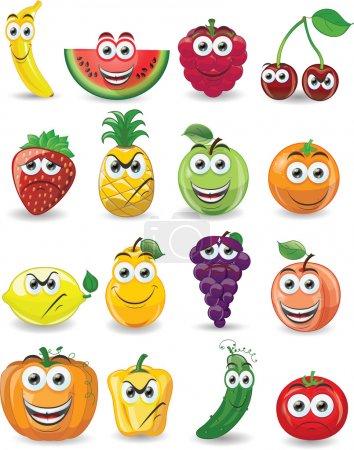 Photo pour Fruits de bande dessinée avec des émotions différentes - image libre de droit