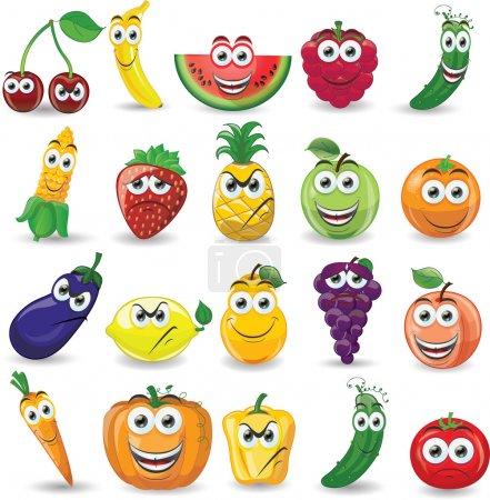 Photo pour Dessin animé fruits et légumes avec des émotions différentes - image libre de droit
