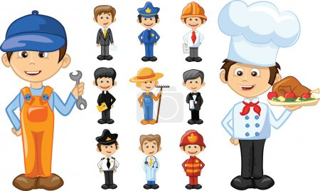 Illustration pour Personnages de dessins animés de différentes professions - image libre de droit