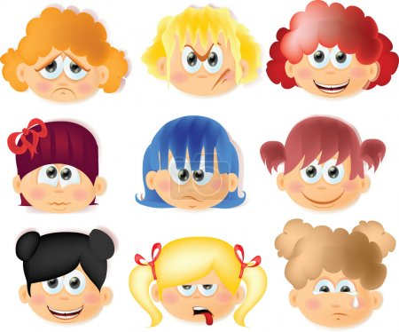 Illustration for Cartoon funny kids with emotions - Royalty Free Image