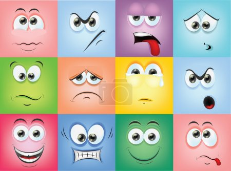 Illustration for Cartoon faces with emotions - Royalty Free Image