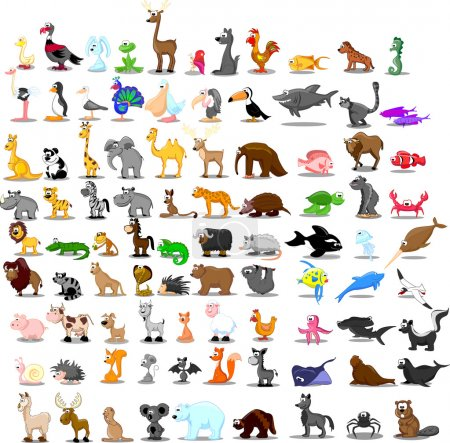 Illustration for Super set of 91 cute cartoon animals - Royalty Free Image