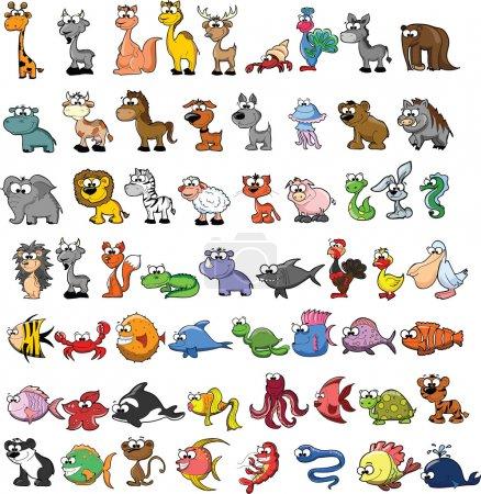 Photo pour Ensemble d'animaux de dessin animé mignon - image libre de droit
