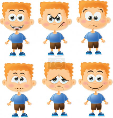 Illustration for Cute cartoon boys with different emotions - Royalty Free Image