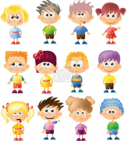 Illustration for Cute cartoon kids with different emotions - Royalty Free Image