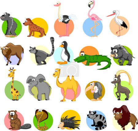 Illustration for Set of cute cartoon animals - Royalty Free Image