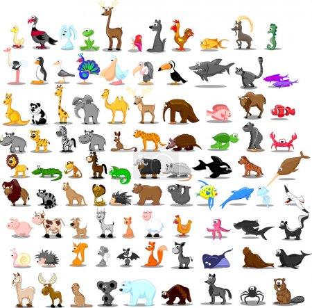 Illustration for Super set of 91 cute cartoon animals - Royalty Free Image