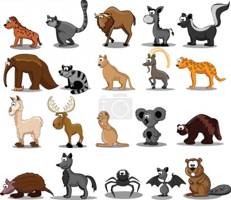 Illustration for Set of 20 cute cartoon animals - Royalty Free Image