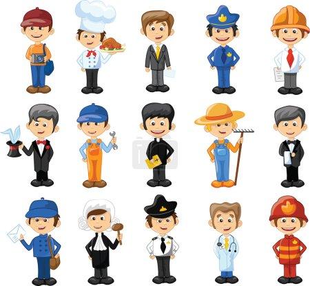 Photo pour Personnages de dessins animés de différentes professions - image libre de droit