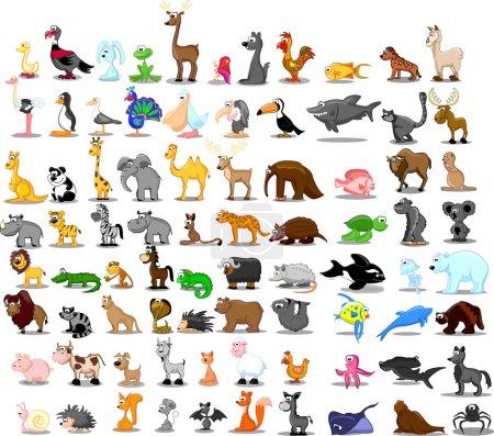 Photo pour Très grand ensemble d'animaux, y compris lion, kangourou, girafe, éléphant, chameau, antilope, hippopotame, tigre, zèbre, rhinocéros - image libre de droit