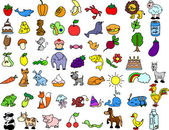 Set of icons of animals food
