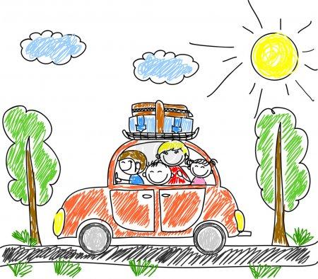 Photo pour Bonne famille en vacances en voiture - image libre de droit