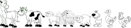Illustration for Vector pets, living on a farm, black and white coloring - Royalty Free Image