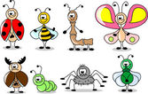 Cartoon set of different insects