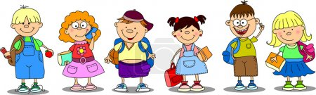 Illustration for Cute schoolboys and schoolgirls - Royalty Free Image