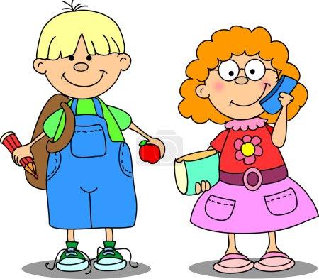 Cute schoolboys and schoolgirls