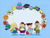 School supplies school children the frame