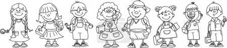 Photo pour Écoliers et écolières mignons, Éléments scolaires - image libre de droit