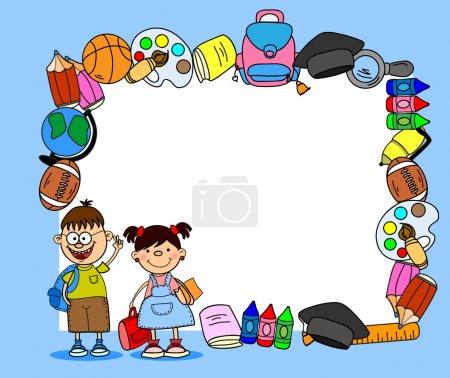 School supplies, school children, the frame