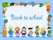 Students and school subjects banner frame