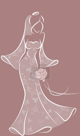 Silhouette of a bride in a wedding dress, background, wedding invitation