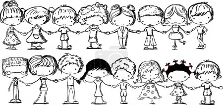 Cute kids holding hands, black and white cartoon picture